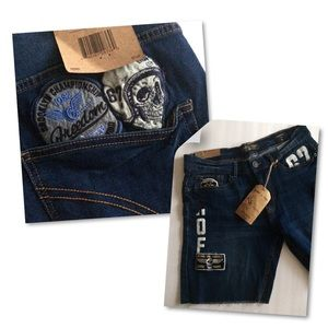 Ring of Fire Men's Denim Shorts Patches Skull